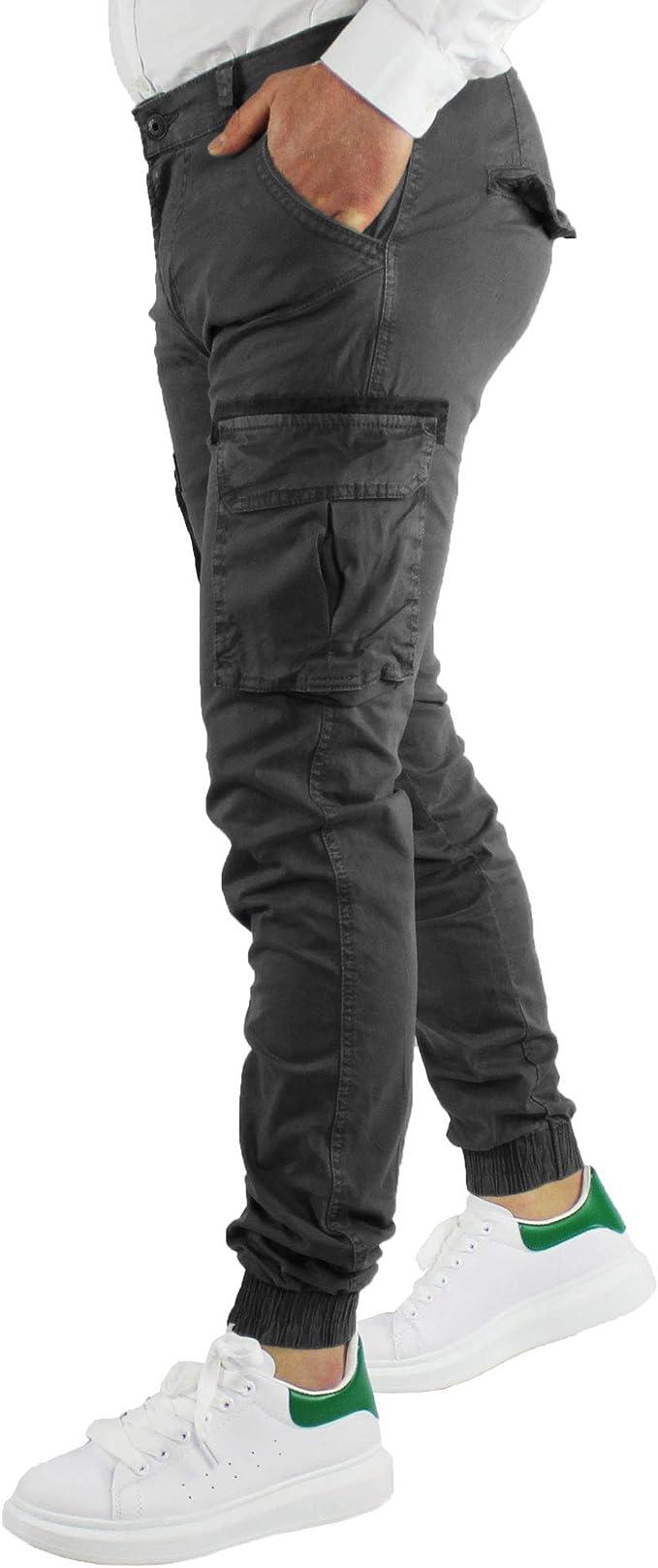 impermeabile tosse Interessante  Pantaloni Uomo con Tasche Laterali Cotone Estivi Grigio Cargo Slim Fit  Multitasche Stretti con Elastici alle Caviglie (50): Amazon.it:  Abbigliamento