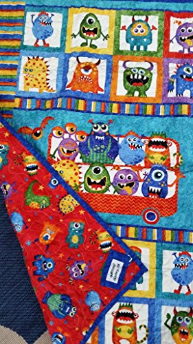 Monster Crib Quilt, Not Scary Monsters, Gender Neutral Crib Quilt, Girl Crib Quilt, Boy Crib Quilt, Primary Colors, Red Blue Green Yellow Orange, Monster Playmat by Quiltsforu2