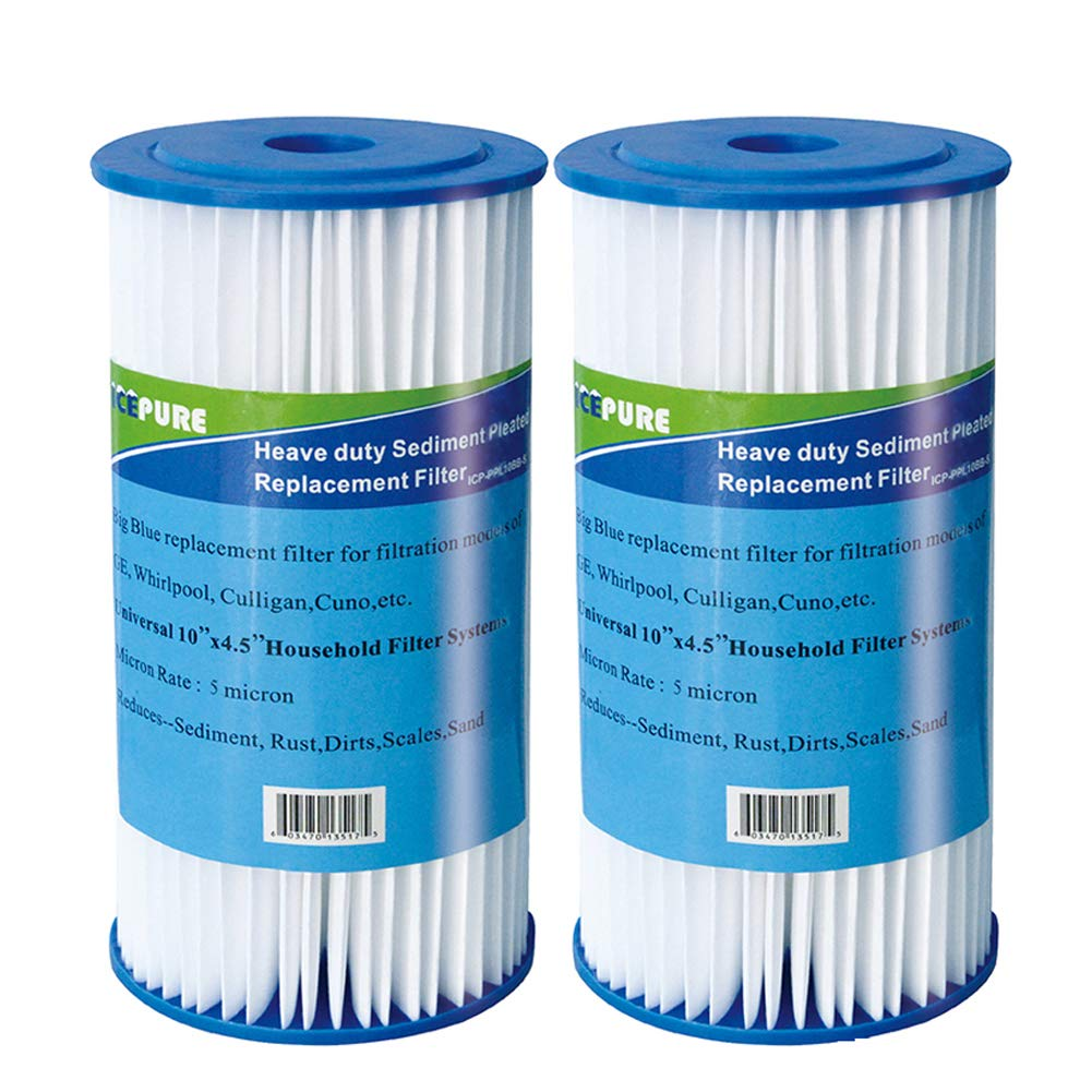 Icepure Big Blue Pleated Sediment Replacement for DuPont WFHDC3001,GE FXHSC, Culligan R50-BBSA, Pentek R50-BB Whole House 10'' x 4.5'' Sediment Filter 2Pack