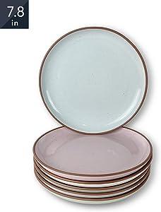 Mora Ceramic Plates, 7.8 inch - Set of 6 - The Dessert, Salad, Appetizer, Small Dinner etc Plate. Microwave, Oven, and Dishwasher Safe, Scratch Resistant. Kitchen Safe Porcelain Dish - Assorted Colors