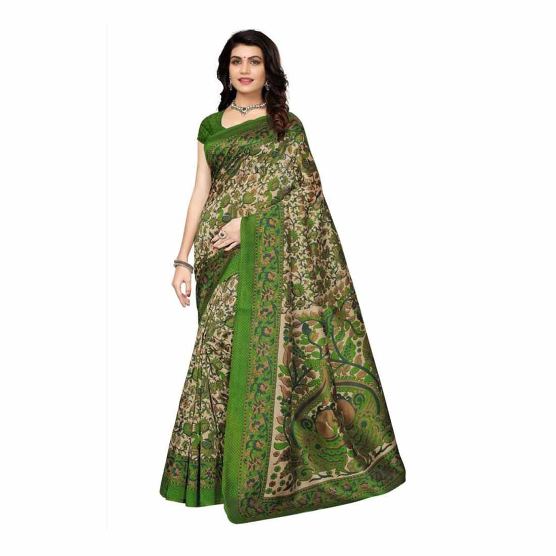 Indian Handicrfats Export Printed Kalamkari Art Silk Saree (Green) FKSAR-0138