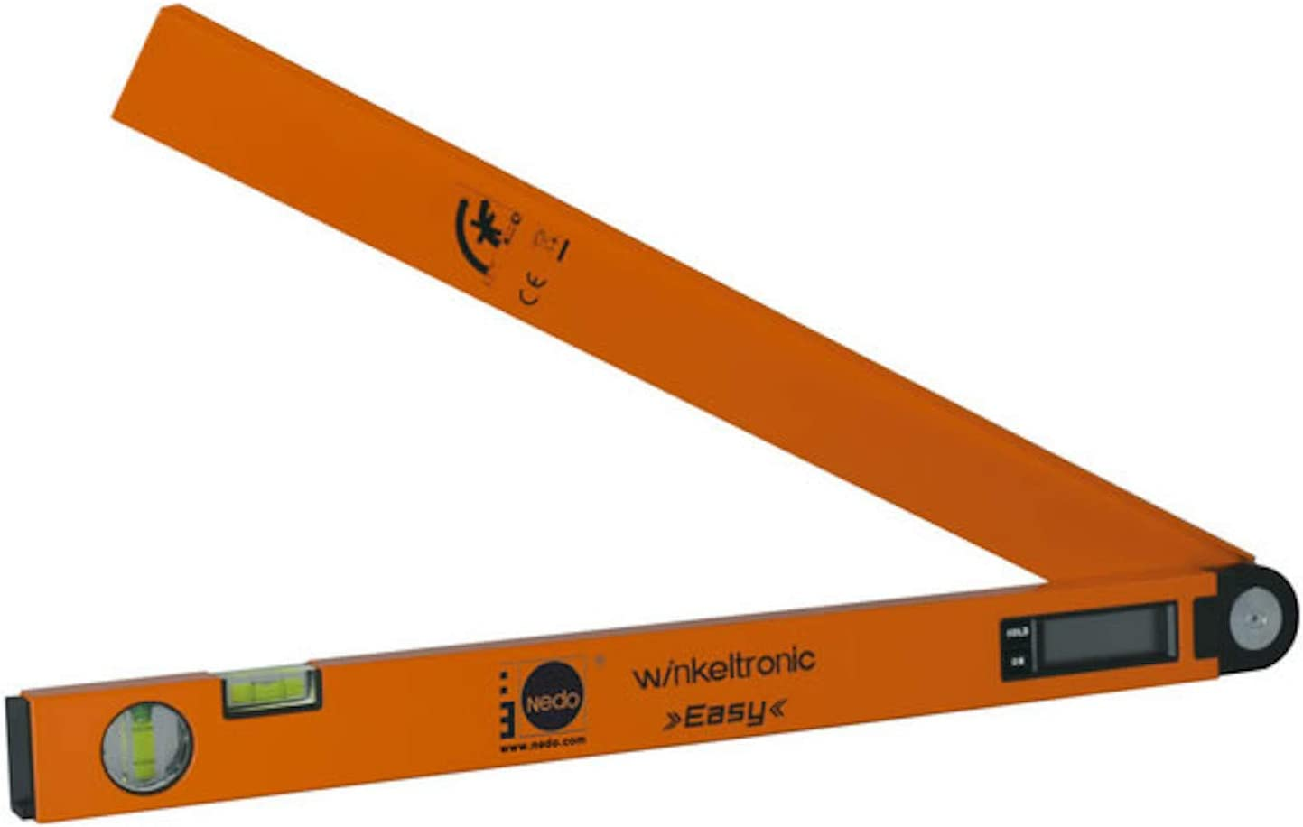 DEWEPRO Zollstock 2m Schenkell/änge 400mm inkl NEDO/® Winkeltronic Easy 400 Elektronischer Winkelmesser