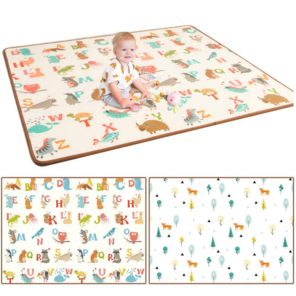HLMIN Baby Crawling Mat Infant Play Carpet Waterproof Foldable Storage Non Slip Predective Multicolor Animal Non Toxic ( color   B , Size   90cmx200cmx1cm )