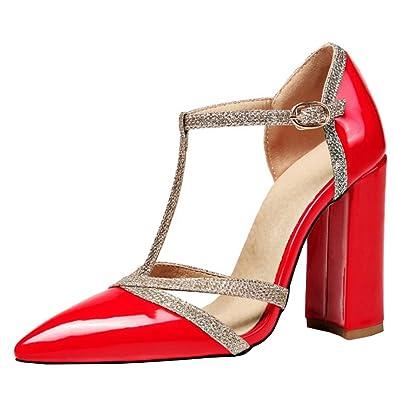 Agodor Damen Blockabsatz Riemchen Sandalen mit Schnalle und Spitze T Spangen High Heels Pumps Lack Schuhe