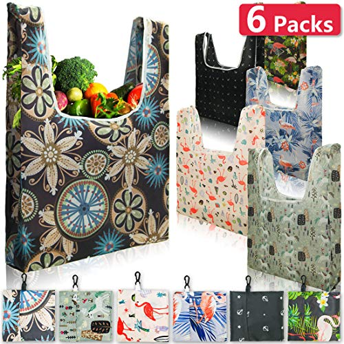 Reusable Foldable Grocery Shopping Bags, Handy Hook Design Easy Hanging Anywhere, Durable Ripstop Hold Up to 50 lbs, Multipurpose 6PCS Washable Eco-Friendly Tote Bags, Good Gifts for Women