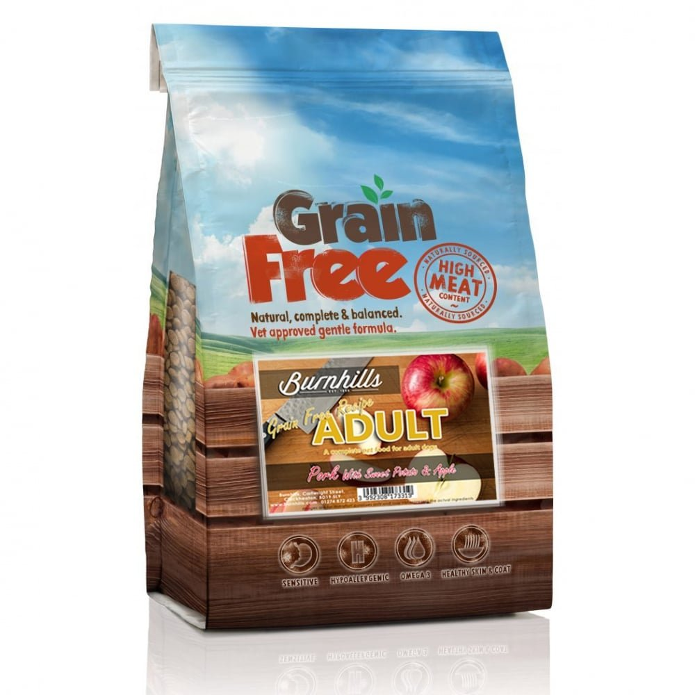 12Kg Burnhills Grain Free Pork, Sweet Potato & Apple Adult Dog Food 12Kg