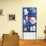 Japanese Noren Doorway Curtain with Lucky and Fortune Cats Pattern Auspicous Maneki Neko Door Curtain (Blue)