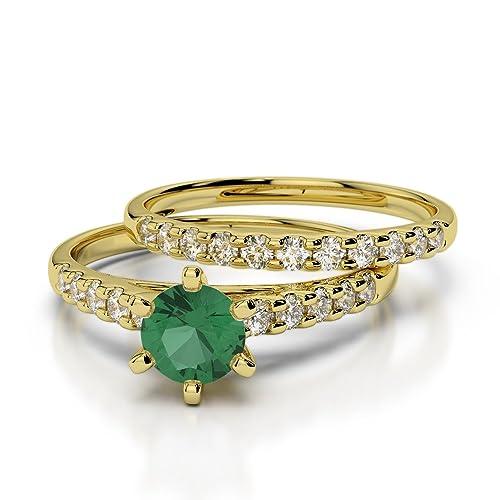 Oro rosa/oro blanco/oro amarillo/Platino Esmeralda & Diamante Juego de Anillos