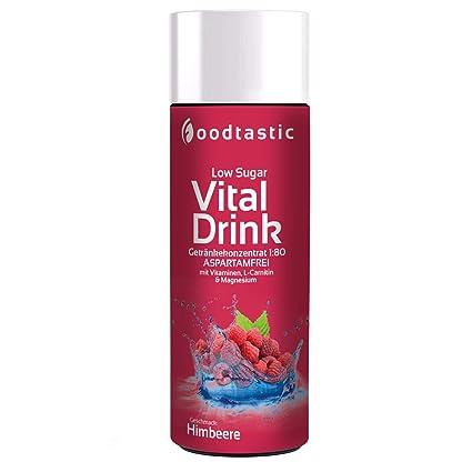 Foodtastic Low Sugar Vital Drink Frambuesa, botella de 250ml, jarabe Vital Drinks bajo en azúcar Concentrado 1:80 para mezclar en agua