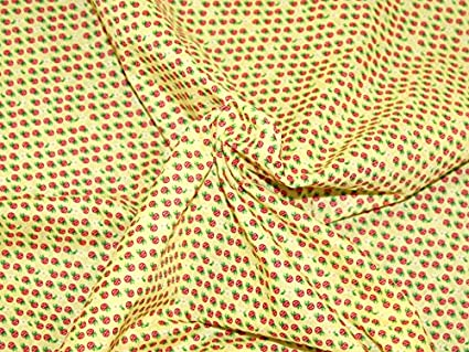 Lemon Yellow Mini Repeat Strawberry Print Polycotton Dress Fabric - per  metre  Amazon.co.uk  Kitchen   Home 784ec9f26