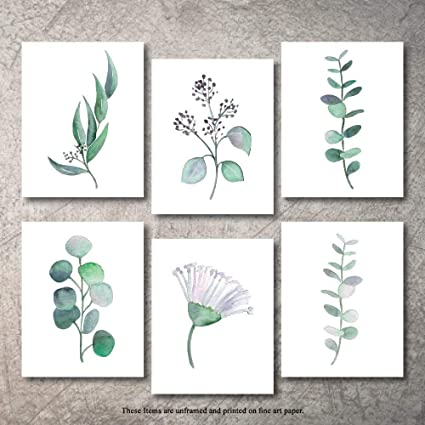 Whaline Plant Wall Art Prints 6 Pack Botanical Art Posters Nature Greenery Leaves Wall Art Decoration Unframed Photo Prints for Home Bedroom Dormitor 8 x 10 Inch