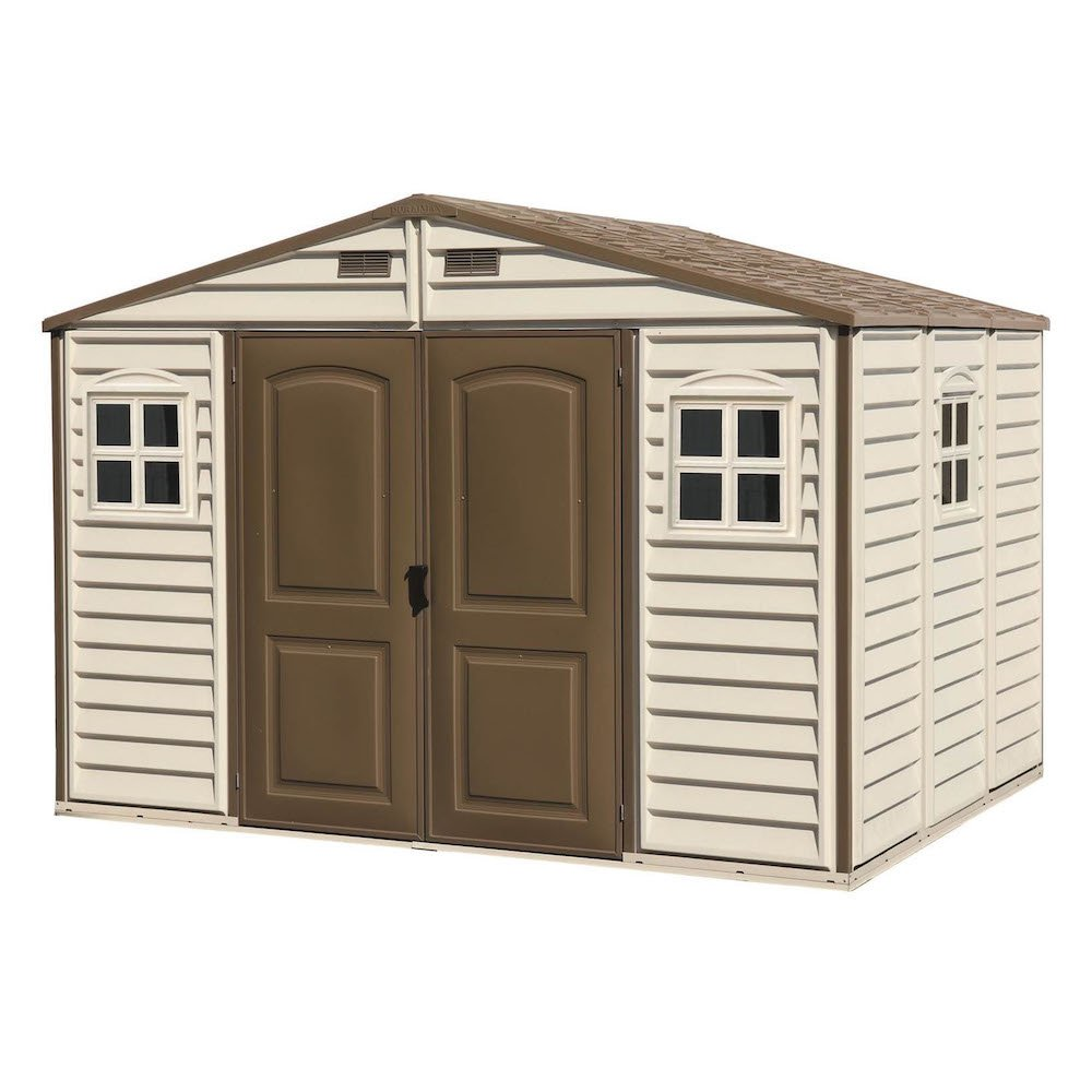Duramax 30214 1 10 x 8 feet v2 wood side vinyl shed ivory brown amazon co uk garden outdoors
