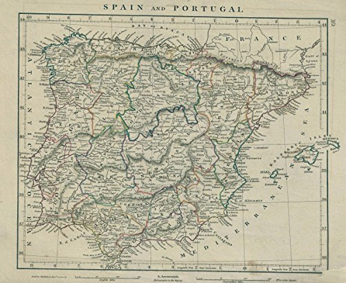 Historical 1828 Arrowsmith Map of Spain and Portugal |16 x 20 Fine Art Print | Antique Vintage Map by historic pictoric