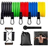 Resistance Bands for Exercise (11Pcs),Training Tubes with Door Anchor & Ankle Strapsp for Working Out and Physical Therapy, Strength&Excerise Bands Set for Resistance Training, Yoga, Pilates