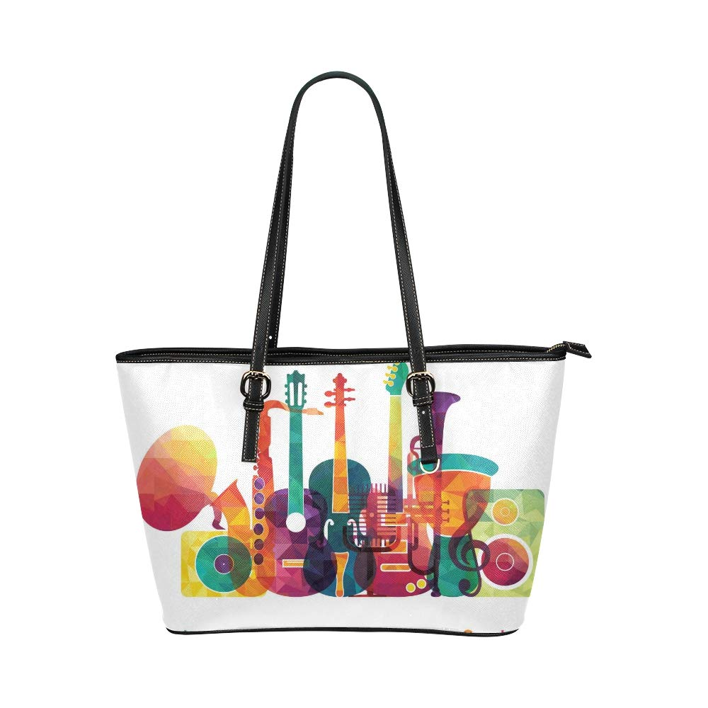Colorful Love Music Intrument Large Soft Leather Portable Top Handle Hand Totes Bags Causal Handbags With Zipper Shoulder Shopping Purse Luggage Organizer For Lady Girls Womens Work