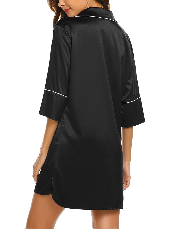 817f75a3b4 Ekouaer Short Sleeve Striped Sleepshirt Women s Nightgown Boyfriend Button  Down Lapel Collar Sleep Shirt at Amazon Women s Clothing store