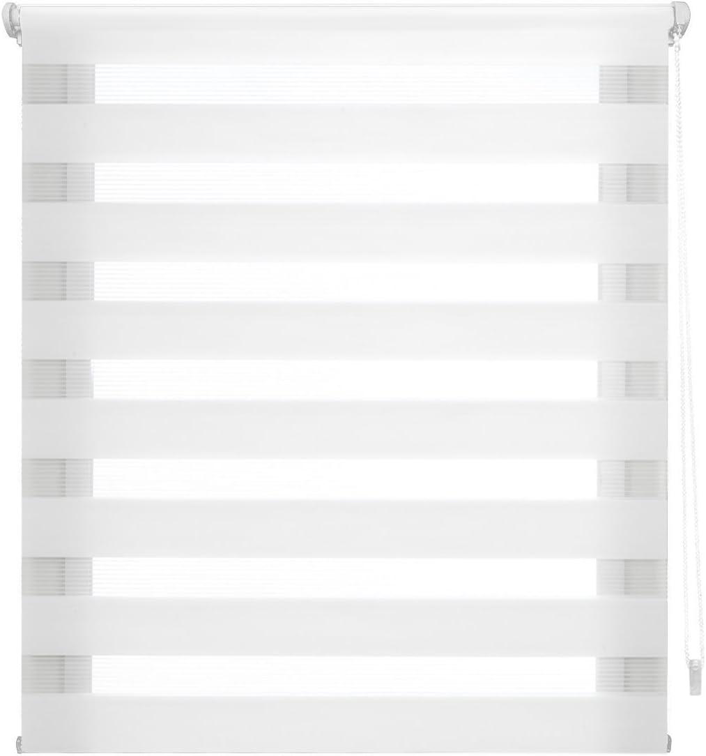 Blindecor Indus SIN HERRAMIENTAS, Estor enrollable de doble capa, Noche y Día, Blanco, 52 x 180 cm (ancho x largo)