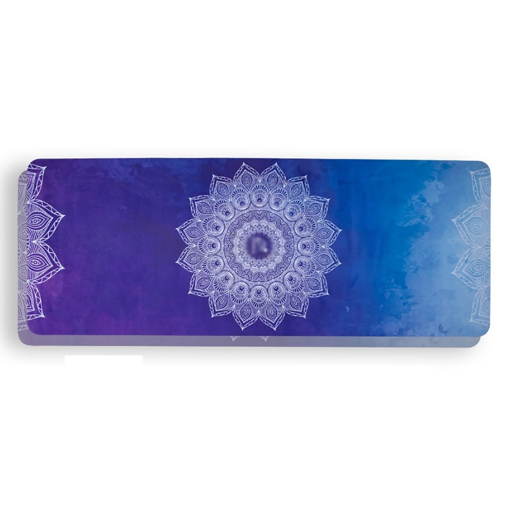 Yoga Mat Suede Printed Beginner Non-Slip Portable Fitness Blanket Anti-Sweat Pink, Purple, Blue 5mm Thick (Color : Blue)