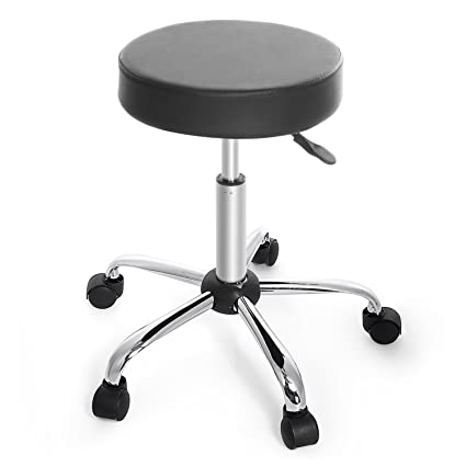 Cnlinkco Round Height Adjustable Rolling Swivel Salon Bar Stool Kitchen  Modern Chair With Dual Wheel