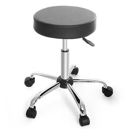 Genial Cnlinkco Round Height Adjustable Rolling Swivel Salon Bar Stool Kitchen  Modern Chair With Dual Wheel