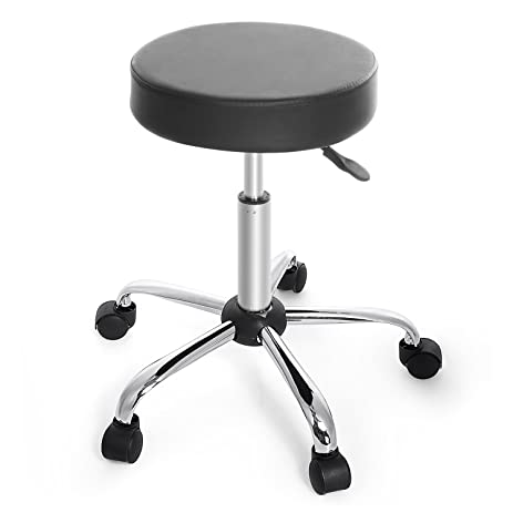 cnlinkco Round Height Adjustable Rolling Swivel Salon Bar Stool Kitchen Modern Chair with Dual Wheel  sc 1 st  Amazon.com & Amazon.com: cnlinkco Round Height Adjustable Rolling Swivel Salon ... islam-shia.org