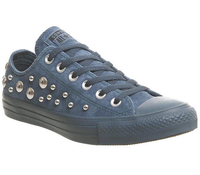 Converse Chucks Chuck Taylor All Star Low Top Sneaker Damen Herren Unisex Blau mit Nieten