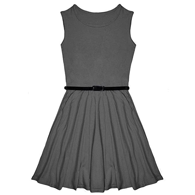1c182977ab Miss Vanilla New Girls Plain Skater Dress Kids Party Dresses with ...