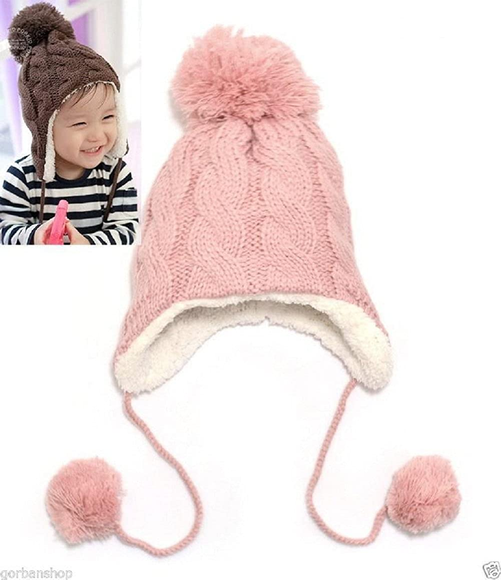 BIBITIME Baby Cap with Ear Cover Winter Knit Hat Two pom poms Hanging Beanie Coffee) 1739