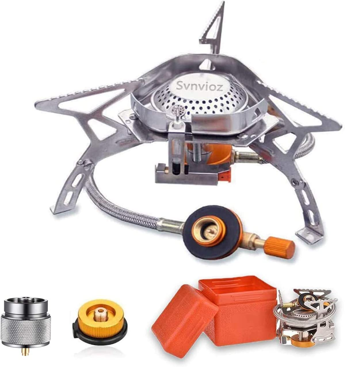 Upgrade Portable Camping Stove Burner, Strong Firepower with Piezo Ignition, 2 Types Propane Butane Stove Adapter, Folding Lightweight Windproof Backpacking Stove for Outdoor Hiking Cooking