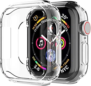 Hankn Compatible with Apple Watch Case 40mm 44mm Series 6 SE Series 5 Series 4, Soft TPU Anti-Scratch Plated Shockproof Protective Screen Iwatch Shell Cover Protector Bumper (Clear, 40mm)