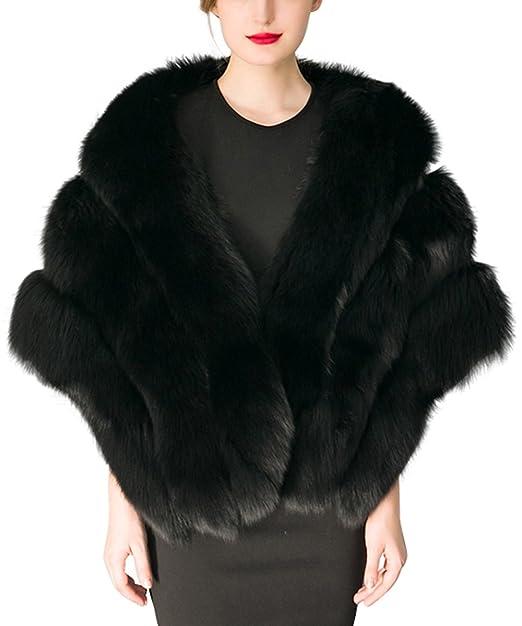 Simplee Apparel Women s Winter Warm Fox Faux Fur Shrug chaqueta abrigo de la bufanda
