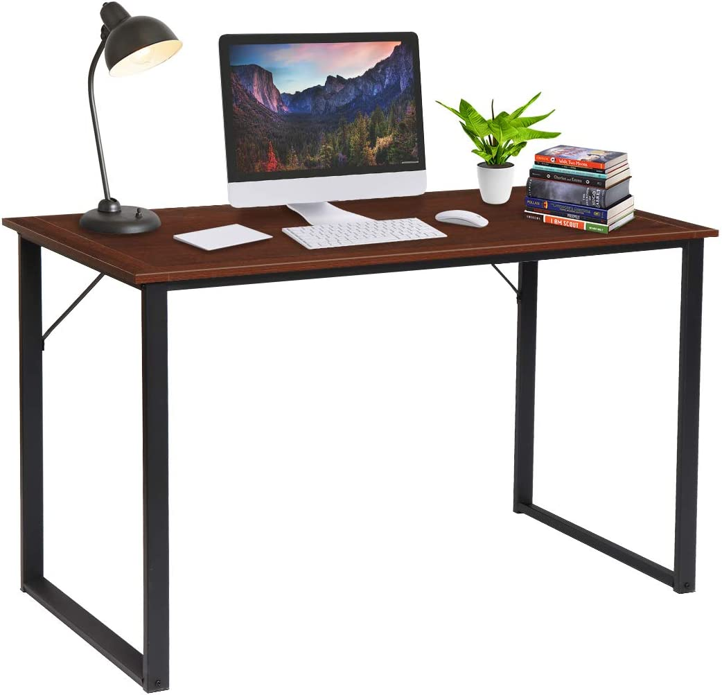 "Computer Desk 47"", KingSo Study Desk for Home Office Modern Simple Design PC Laptop Desk, Wood Sturdy Writing Table, Metal Frame Study Desk,(Teak)"