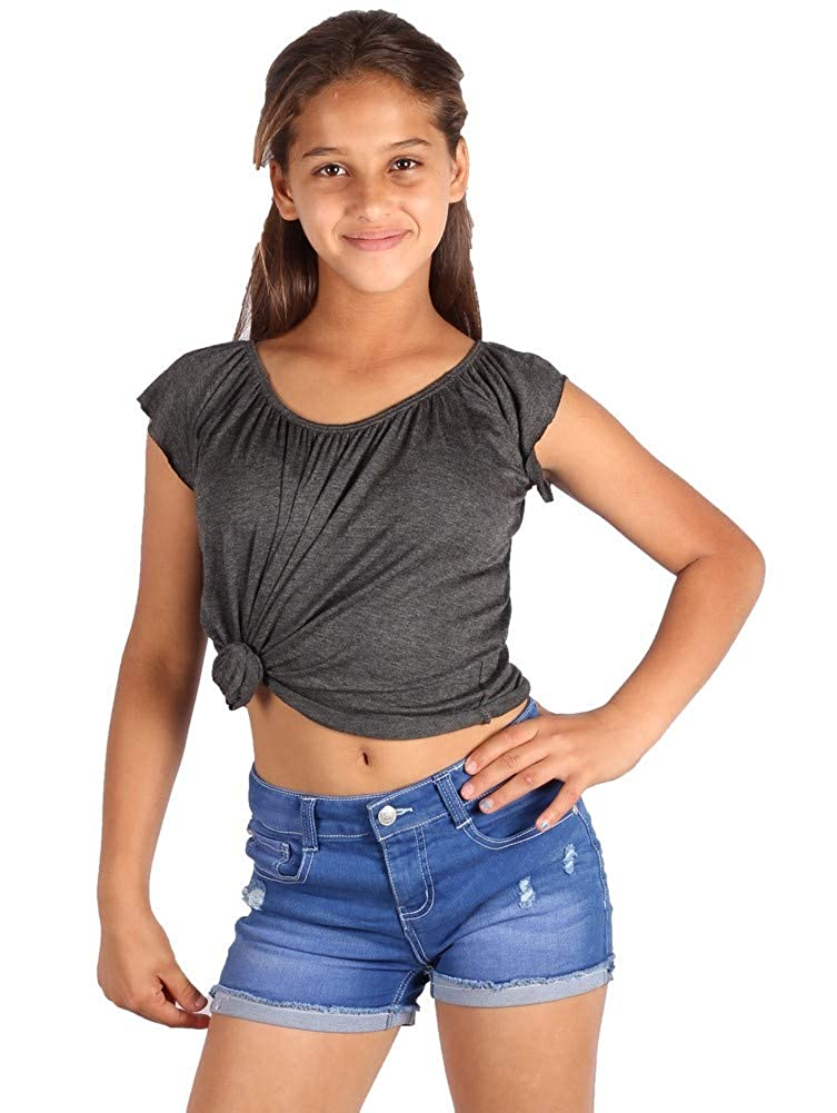 Lori /& Jane Big Girls Charcoal Elastic Short Sleeve Summer Top 6-14