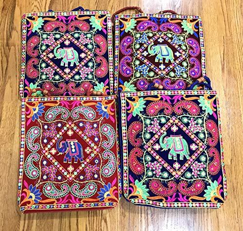 (Wholesale Lot of 4pc Elephant Print Embroidered Handbags, Handmade Bag, Vintage Bag, Hand Stitched Bags, Crossbody Bags, Hippie Bag, Shoulder Sling Bag, Handcrafted Bag, Ethnic Bag, Hand)