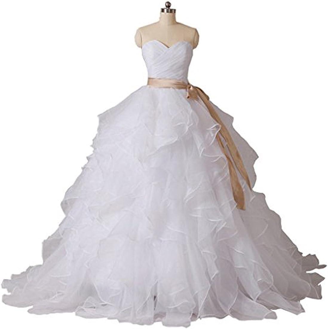 YIPEISHA Womens Bridal Gown Wedding Party Dresses Organza Bride Dress Beach Wedding Dresses