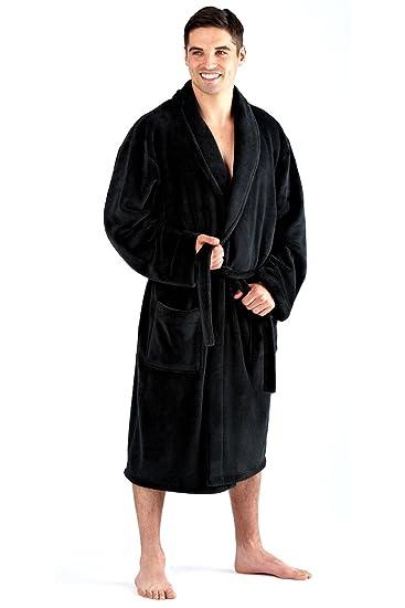hommes luxe 300GSM polaire souple noir uni ou bleu marine col châle  ceinture peignoir robe de chambre taille M XL et XXL  Amazon.fr  Vêtements  et ... 6dbef72c21f4