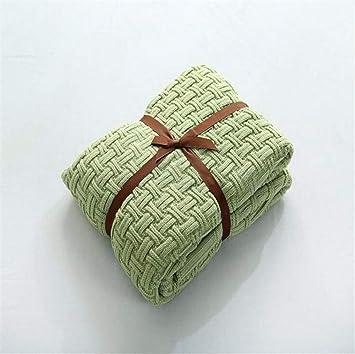 Qxwl Handgestrickte Baumwolle Decke Bambus Muster Stricken Decke