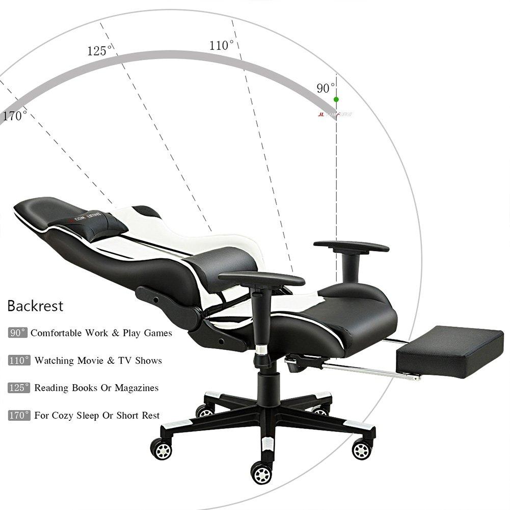 Silla de gaming de JL Comfurni, silla ergonómica giratoria de piel ...