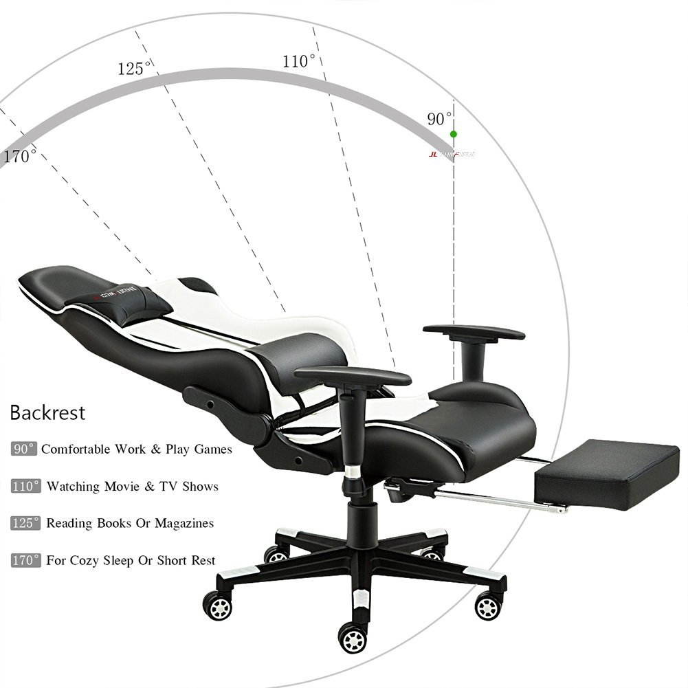 Silla de gaming de JL Comfurni, silla ergonómica giratoria de piel sintética, para casa, oficina y escritorio, reclinable, silla de estilo deportivo de ...