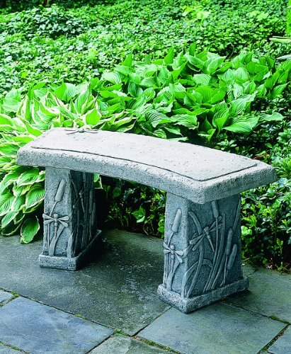 Bench Curved Garden (Campania International BE-24-AS Dragonfly Curved Bench, Alpine Stone Finish)