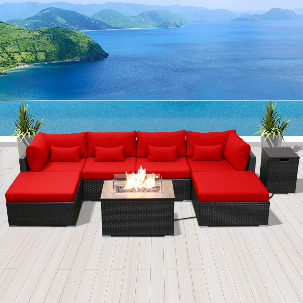 Resin Garden Furniture Modenzi Outdoor Sectional Patio Furniture with Propane Fire Pit Table  Espresso Brown Wicker Resin Garden Conversation Sofa Set (C7 Sofa  Rectangular Fire Pit ...