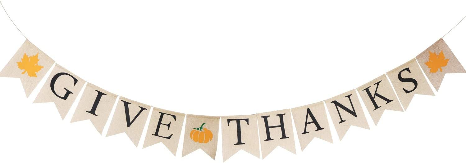 Lulu Home Fall Festive Banner, 6.6 FT Burlap Give Thanks Banner, Thanksgiving Banner Decorations, Fall Party Decor Thanksgiving Sign