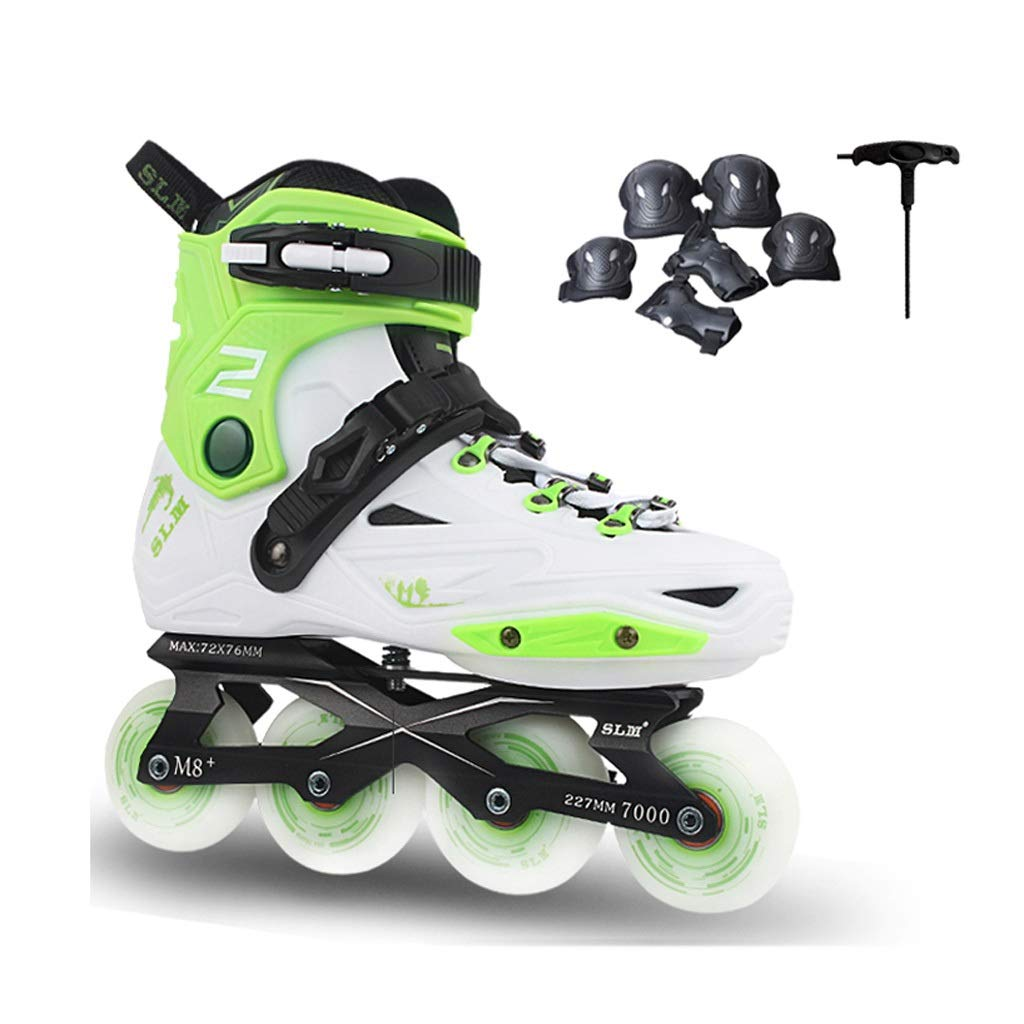 JIANXIN Inline Skates, Adult Can Rollerblades, Suitable for Women, Youth, Beginner Skating, White and Green (Size : EU 40)