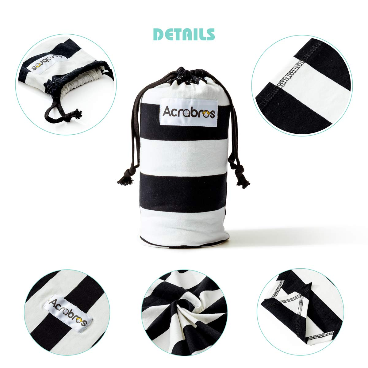 ACRABROS Baby Wrap Carrier,Hands Free Baby Carrier Wrap Sling,Stretch Cotton,Lightweight,Breathable,Perfect for Newborn Infants and Babies Shower Gift,Black//White 1.5 inch Stripe