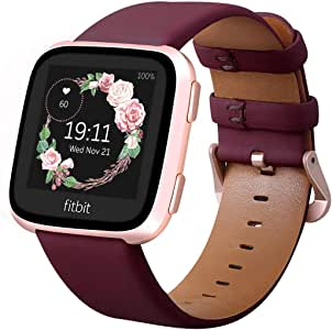 KADES for Fitbit Versa 2 Bands, Leather Band Replacement Strap Compatible with Fitbit Versa 2/Versa/Versa Lite/Versa SE for Women Men (Wine Band+Rose Gold Buckle)
