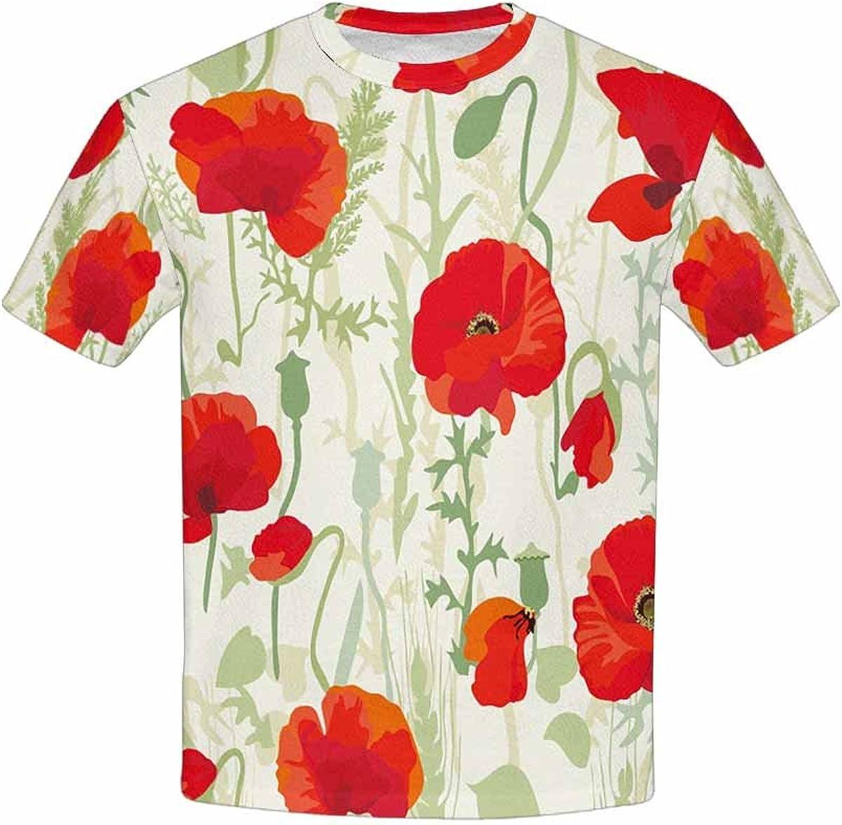 XS-XL INTERESTPRINT Poppy Field Red Poppy Theme Youth T-Shirts