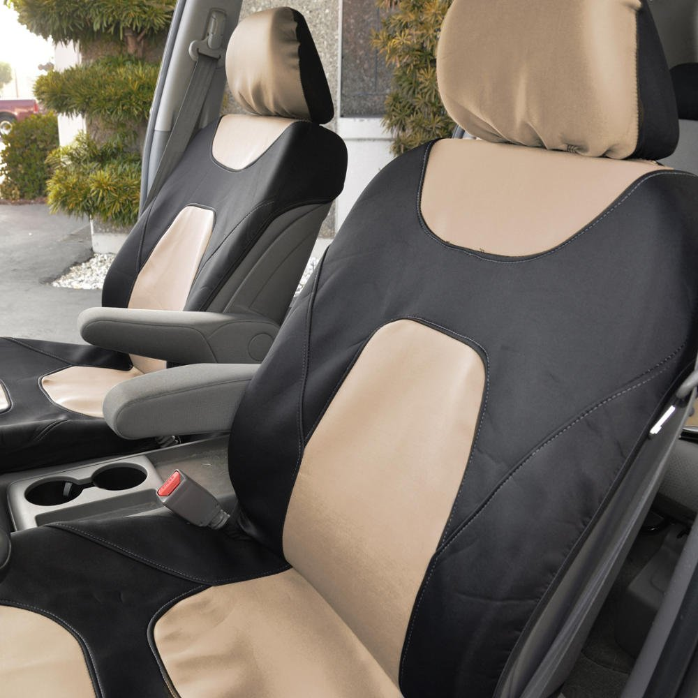 Motor Trend 3 Layer Waterproof Car Seat Covers Modern Black//Gray Side-less Quick Install Auto Protection OS-274-GR