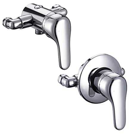 Modern Chrome Wall Mounted Manual Shower Mixer Valve Bathroom Tap ...