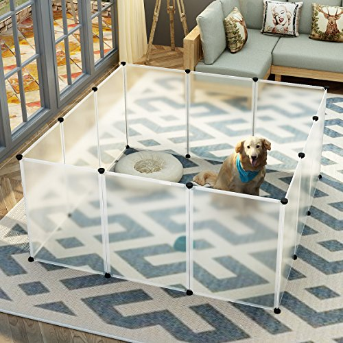 Indoor Dog Pens (KOUSI Small Pets Playpen Indoor Yard Fence for Small Animals Popup Kennel Crate, Portable & Large, Dog Guinea Pigs Rabbit Puppy Tent - Transparent 12 Plastic Panels)