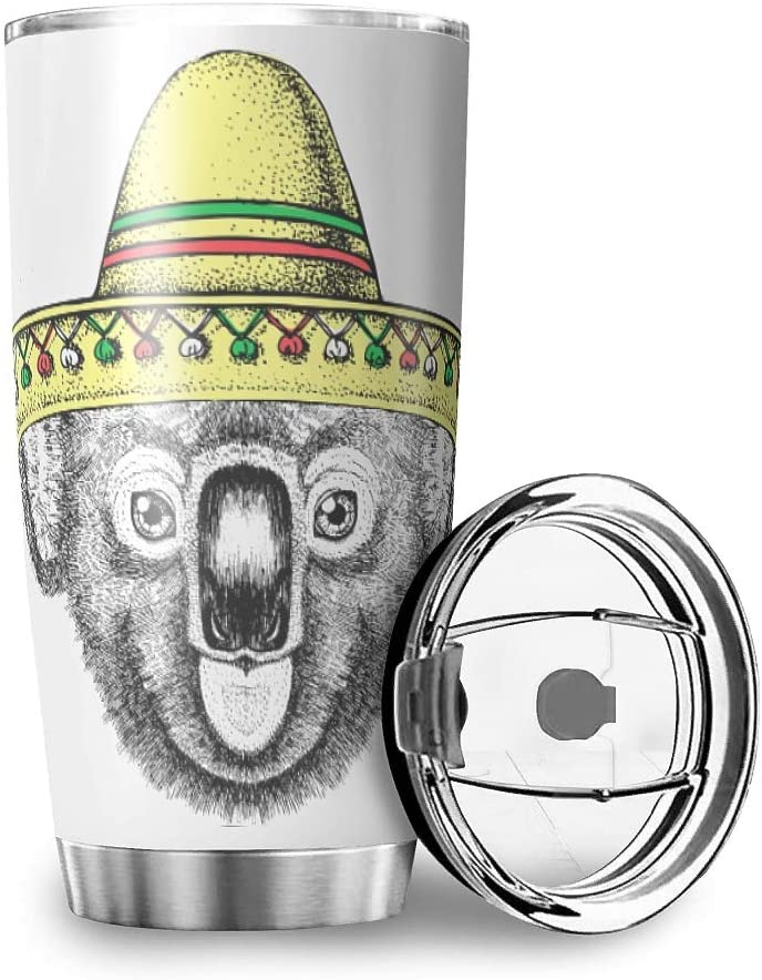 Stainless Steel Tumbler 20oz - koala Double Wall Vacuum Insulated Coffee Cup Water Bottle Drinking Travel Mugs with Lid and Straw for School Gift for Women white 20oz